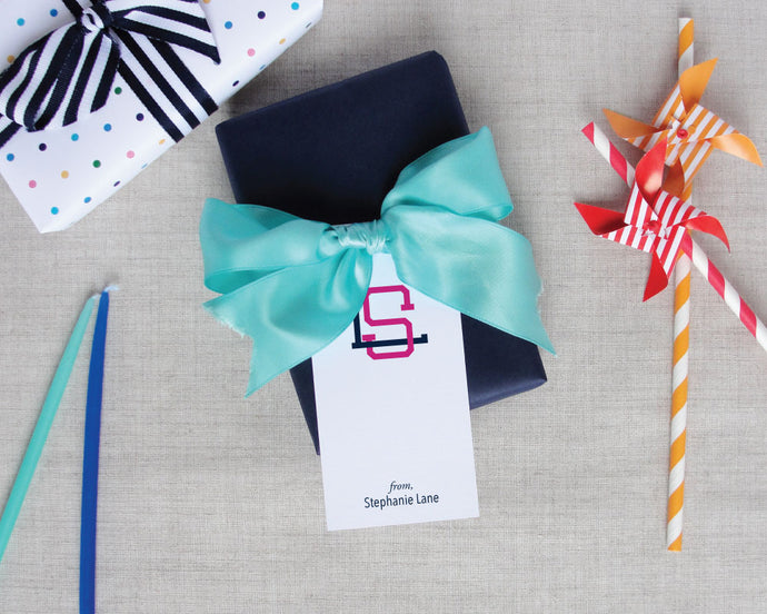 Two Color Interlocking Monogram Gift Tag