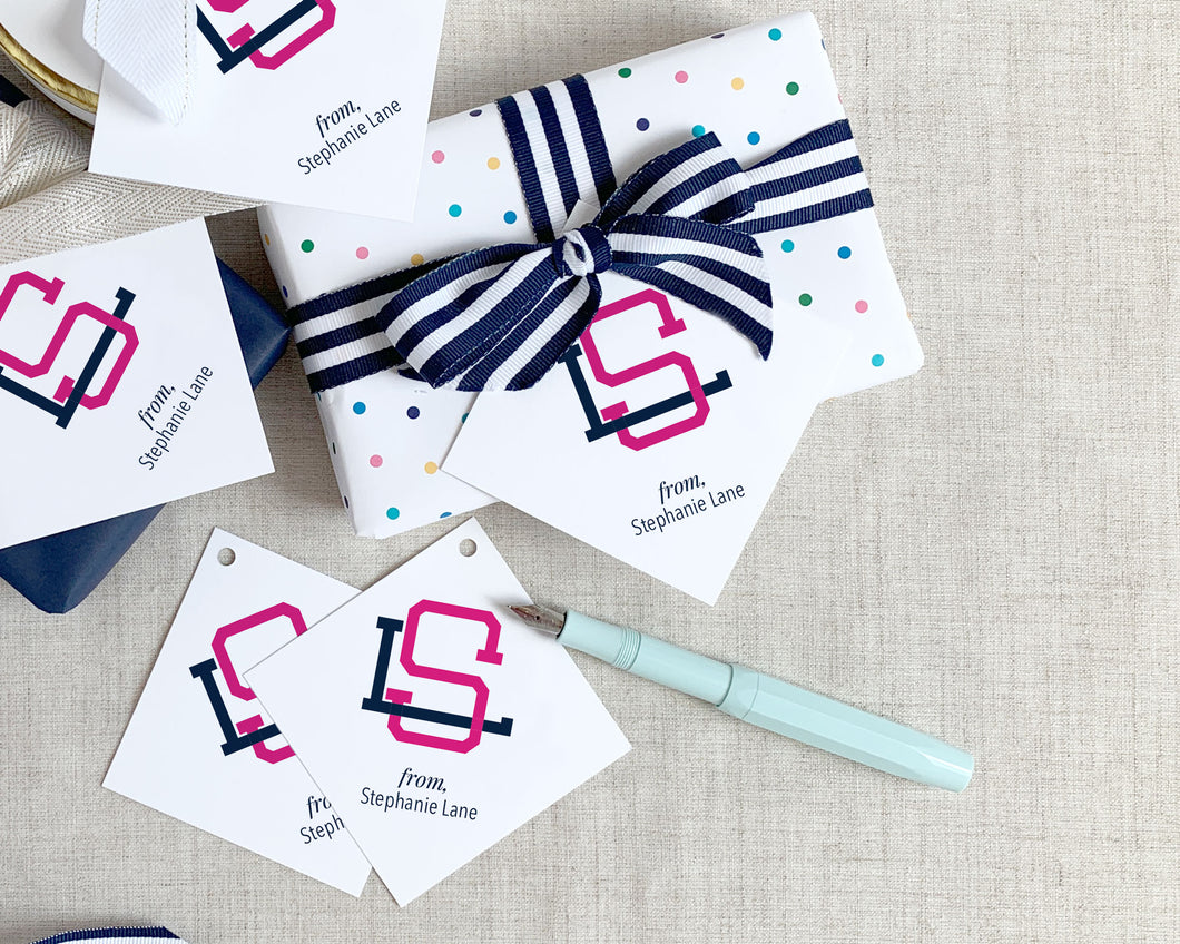 Two Color Interlocking Monogram Square Gift Tag