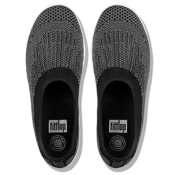 FitFlop Uberknit Slip-On Ballet Flats Black/Charcoal