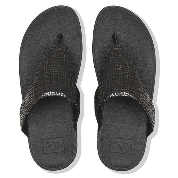 FitFlop Lottie Chain Print Suede Toe Thong Black