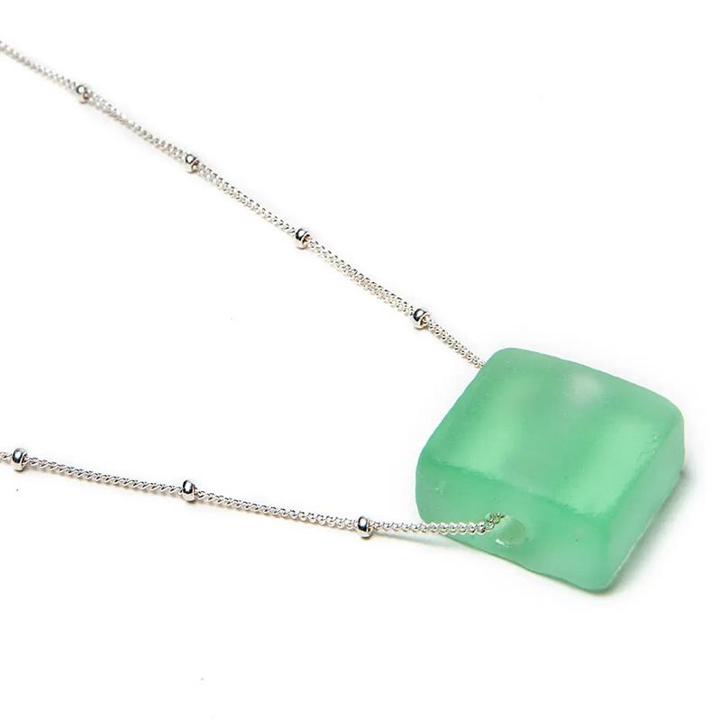 Recycled Bottle Glass Cube Necklace