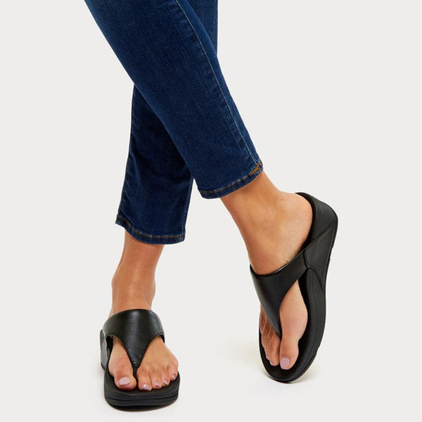 FitFlop LULU™ Leather Toe-Thong Sandal - Black