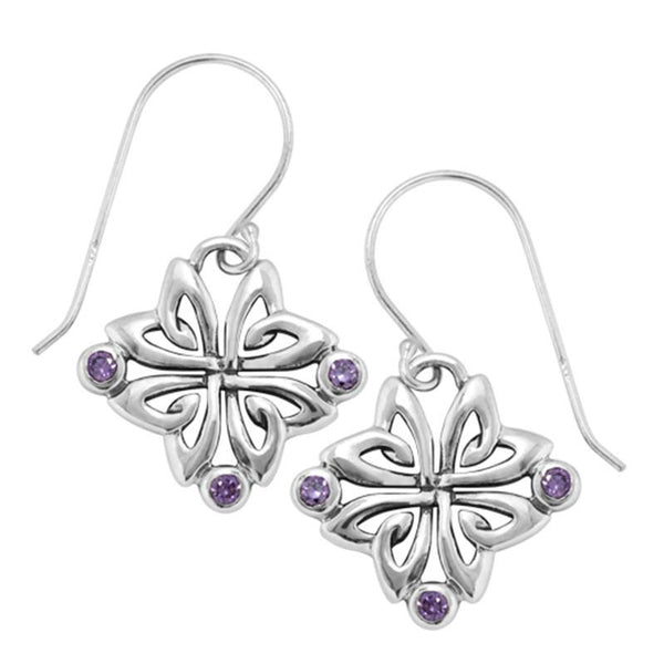 Boudicca Earrings - Amethyst CZ Flower