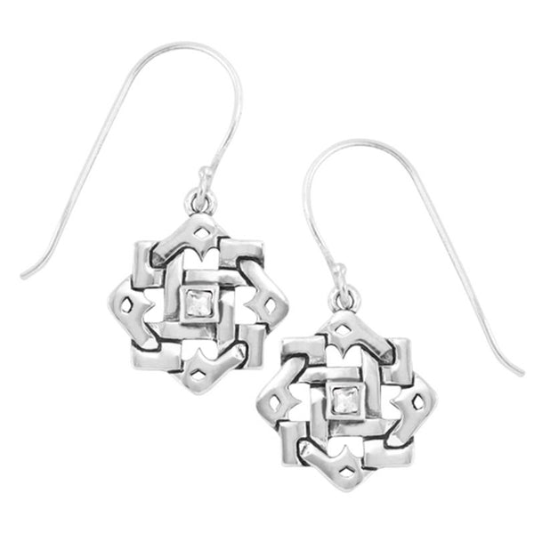 Boudicca Earrings - Woven Crystal CZ Square