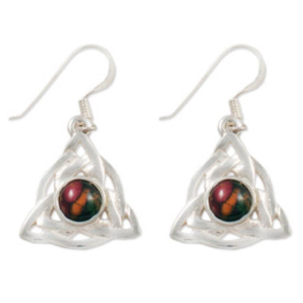 Heathergems Celtic Triangular Sterling Silver Drop Earrings SE32