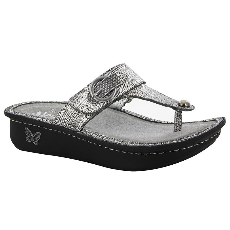 leather thong style sandal with velcro closure