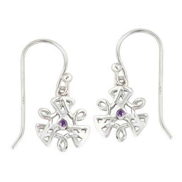 Boudicca Earrings - Knot Work Amethyst CZ