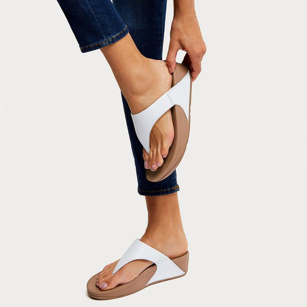 FitFlop LULU™ Leather Toe-Thong Sandal - Urban White