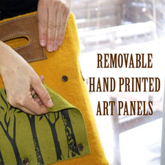 Fibres of Life Removable Hand Printed Art Panels for Bags