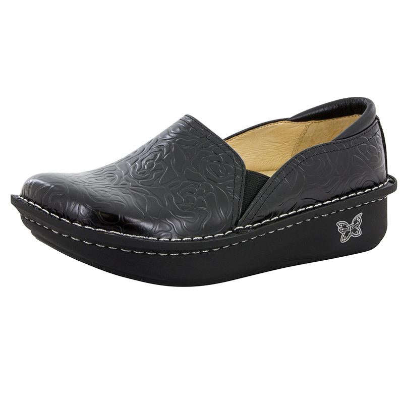 black leather embossed shoe