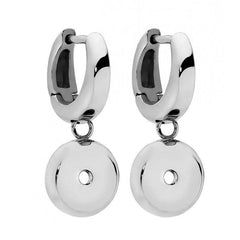 Qudo Stainless Steel Small Hoop With A Drop Earrings