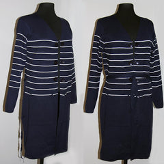 Fashion Striped Open Sweater