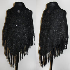 Fashion Knitted Poncho with High Collar