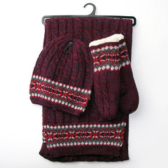 Knitted Scarf, Hat and Mitts Set