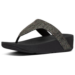 Lottie Glitter-Stripe Toe-Thong Sandals All Black