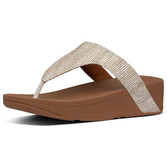 Lottie Glitter-Stripe Toe-Thong Sandals Stone