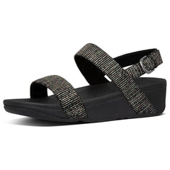 Lottie Glitter-Stripe Back-Strap Sandals Black