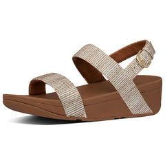 Lottie Glitter-Stripe Back-Strap Sandals Stone
