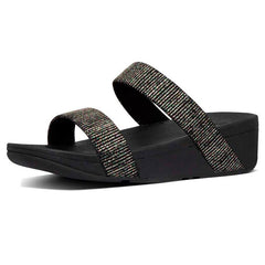 FitFlop Lottie Glitter Stripe Slide - Black