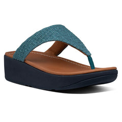 FitFlop Imogen Basket-Weave Raf Sandal in Sea Blue