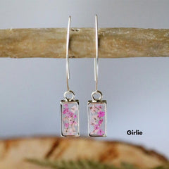 Flora & Forest Rectangle Threader Earrings - Real Flowers