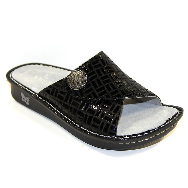 black scored pattern leather slide with velcro strap