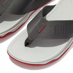 FitFlop Surfa Woven-Logo Toe-Post Sandals - Pewter