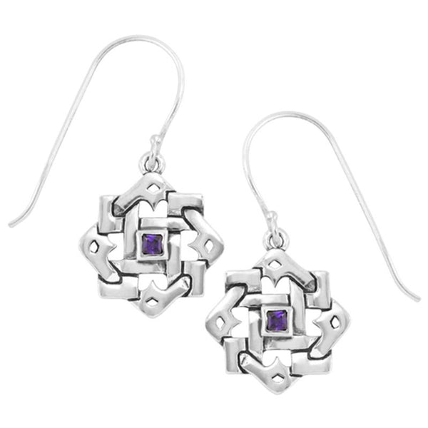 Boudicca Earrings - Woven Amethyst CZ Square