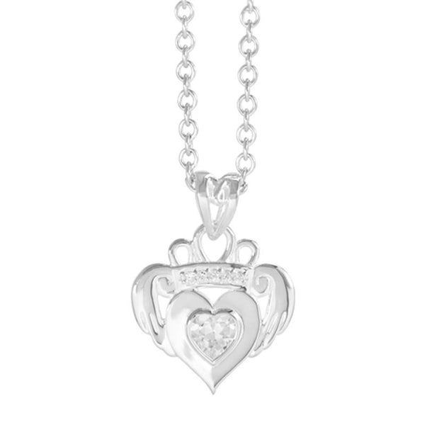 Boudicca Pendant - Small Crystal Claddagh