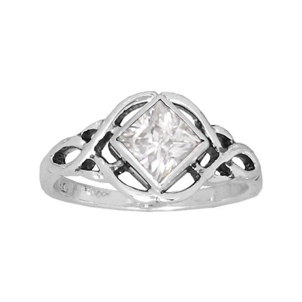 Boudicca Ring - Crystal CZ Square Knot