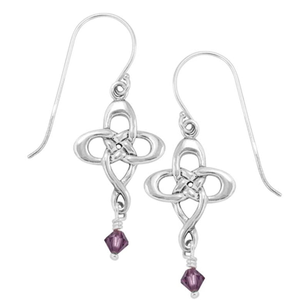 Boudicca Earrings - Amethyst CZ Knot Cross