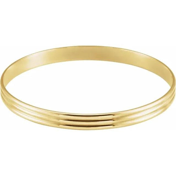 14K Yellow 4 6 or 8 mm Grooved Bangle Bracelet - Gold