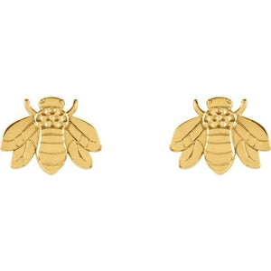 14K Yellow White Or Rose Gold Bumblebee Earrings - 14Kt