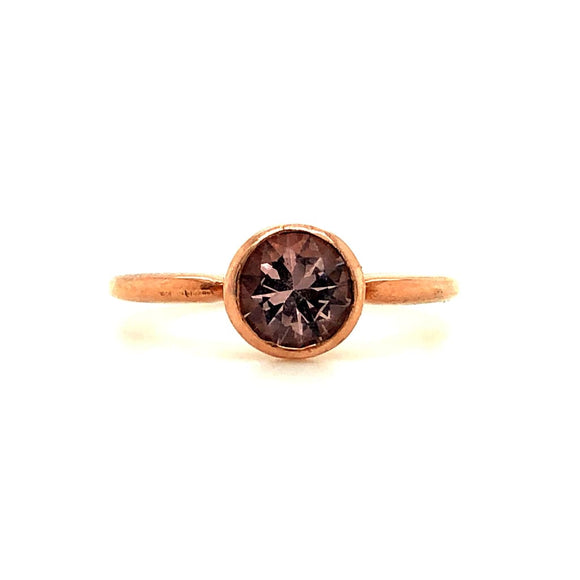Custom Made 6 MM Bezel Set Morganite Ring In Rose Gold -