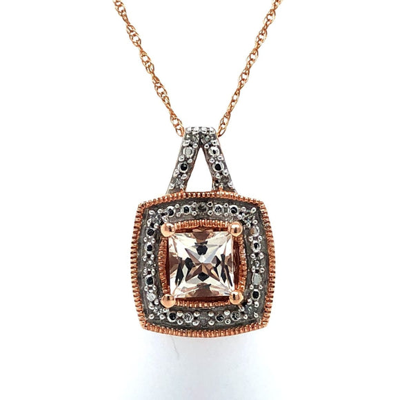Morganite & Diamond Pendant in 10Kt Rose Gold With Chain -
