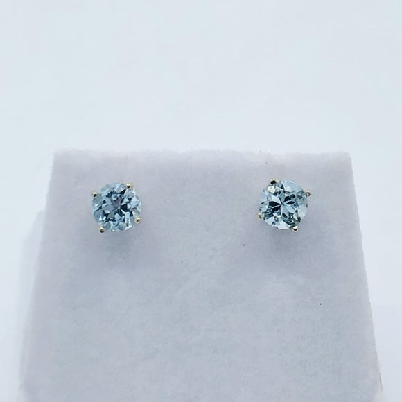 Natural Gemstone Earrings 5mm Round In 14K White Gold -