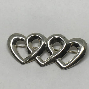Vintage sterling three heart brooch, sterling silver heart, Lady's vintage jewelry-Vintage Brooch-Bryant Gems