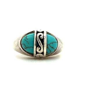 Vintage Turquoise Ring in Sterling Silver - Size 6 - not