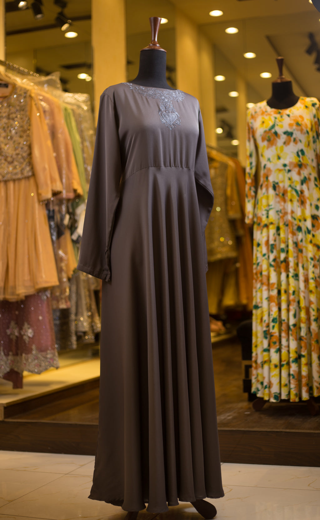 Clay Brown Abaya with embroidered neckline