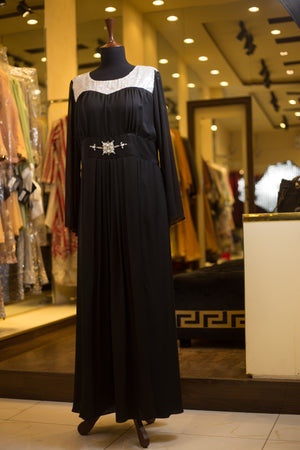 Fancy dress-abaya with embellished waist belt