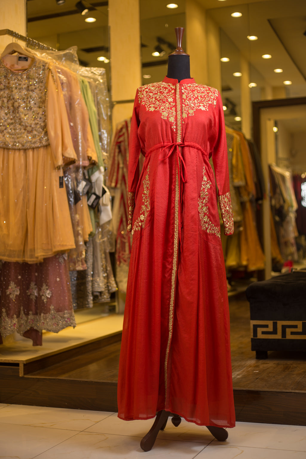 Red button-down Maxi with metallic gold embroidery