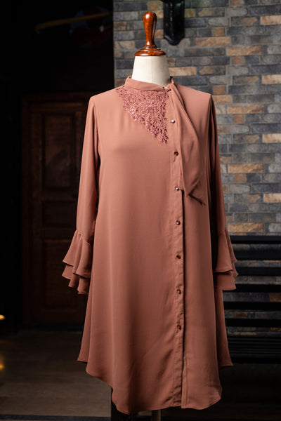 Embroided Neck Tie Tunic
