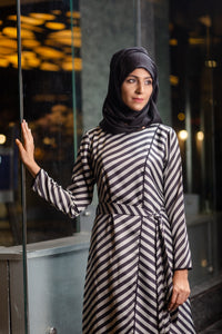Striped overlapping tunic and slim line pants