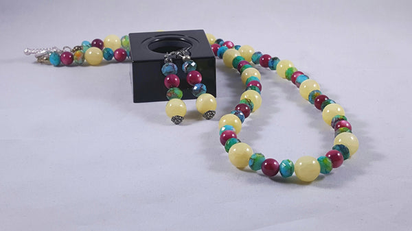 Berry Lemon Sky Necklace and Earring Set