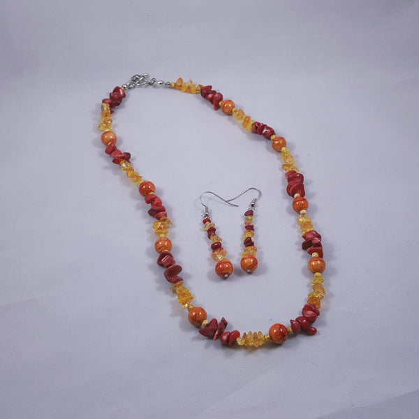 Fire Sunset Necklace and Earring Set