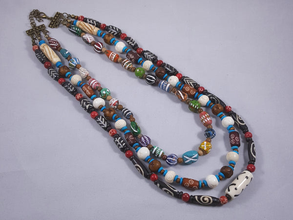 Tribal Triple Strand Necklace