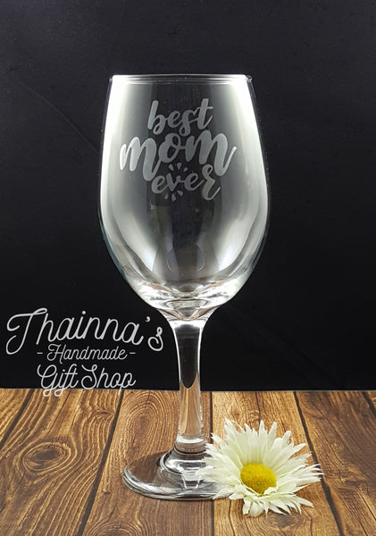 Etched Best Mom 20 oz Wine Glass