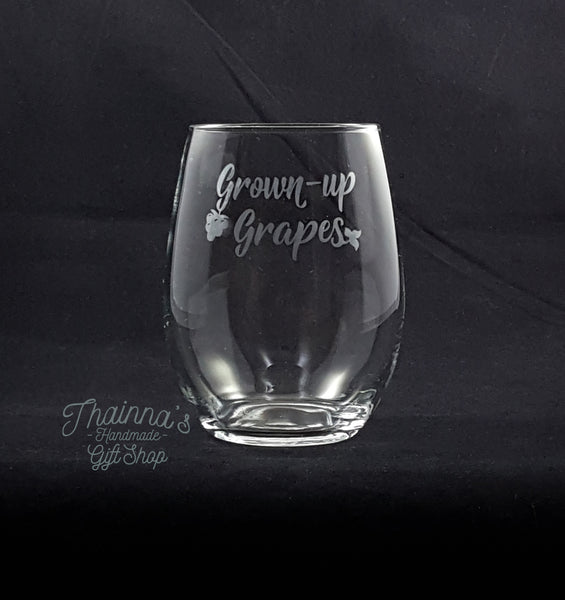 Grown Up Grapes 21 OZ Stemless Wine Glass
