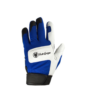VukGripz Alpha Blue Batting Gloves featuring white logo and black strap