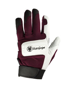Front view VukGripz Alpha Maroon Batting Gloves featuring white logo and black strap